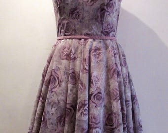 Lilac floral dress with keyhole neckline