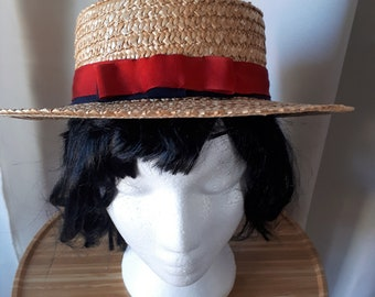Vintage Retro 1950's Womens Straw Boater Hat
