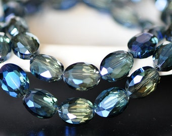 58pcs Faceted Oval Crystal Glass beads 12mm, Sparkly Montana Blue-(TS01-4)