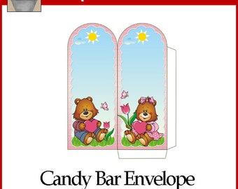 Love Bears Valentine Candy Bar Envelope Printable