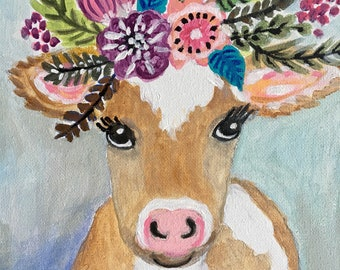 """Sweet Cow Painting Flower Crown Abstract Original Painting on 8x10x1"""" on stretched canvas by Karen Fields"""