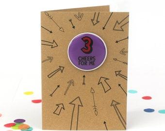 Third birthday card, 3rd birthday card, Girl 3rd birthday, boy 3rd birthday, birthday card three, three birthday card