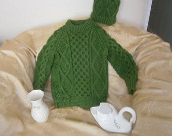 Children's Aran Irish Sweater and Hat Set - Kelly Green 2-4 year old child