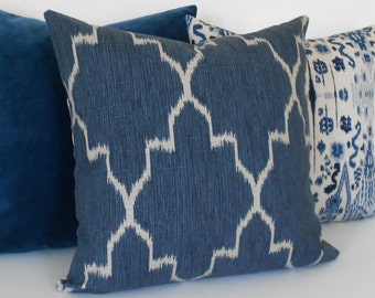 Modern navy moroccan ikat decorative throw pillow cover