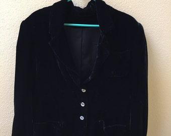 Elegant Vintage Black Velvet Jacket