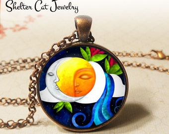 "Sun and Moon Nature 2 Abstract Necklace - 1-1/4"" Circle Pendant or Key Ring - Handmade Wearable Photo Art Jewelry Artistic Eye & Nature Gift"