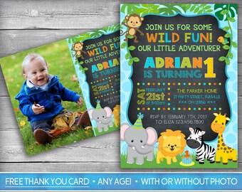 Safari Invitation | Jungle Invitation | Zoo  Invitation | Safari Birthday Invite | Woodlands Wild & Free Invitation - Chalkboard Invitation