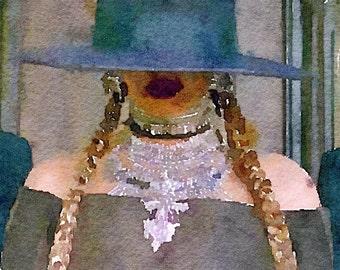 Beyonce Close Up Formation Portrait Watercolor Print
