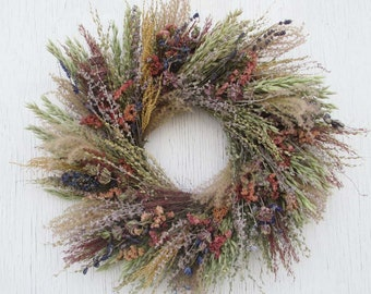 shades of light green, blue, peach dried flower wreath/rustic dried flower wreath with fine textures/pastel herb, flower and grains wreath