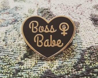 Boss Babe enamel pin, the future it female, herstory brooch, feminism, Pin,Lapel pin,Feminist pin, Persist, riot grrrl,Leslie knope