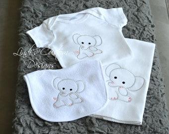 Girl elephant baby etsy girl baby gift pink gray embroidered elephant bib burp bodysuit gift set unique baby negle Image collections