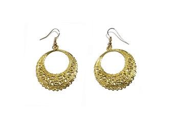 Golden Color Metal Earrings Raised Pattern Embossed