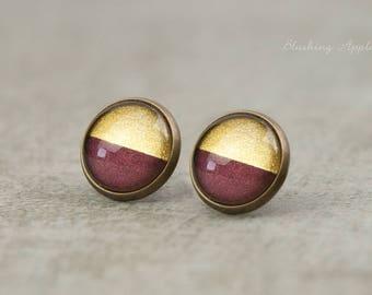 Earrings violet and gold-dip dye, 12 mm, hand-painted, minimalist earrings