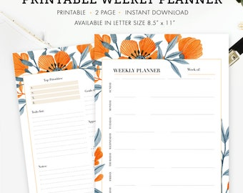 """Weekly Planner, 2 pages, Letter Size 8.5"""" x 11"""", Instant Download"""