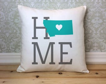 Montana Pillow, Montana State Pillow, Montana Home Pillow, Housewarming Gift, Square Pillow, Montana Home Decor,  Montana Custom Pillow