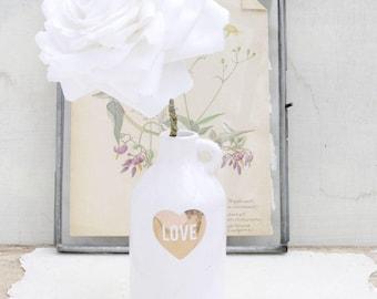 English Rose Wedding Anniversary Long Stem White Cotton Flowers by Cotton Bird Designs