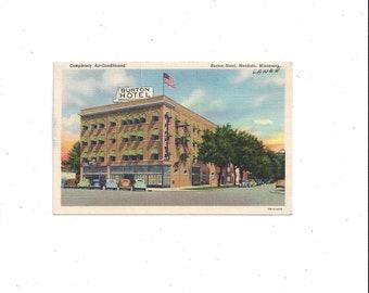 1946 Linen Postcard of Burton Hotel, Mankato, Minnesota, Posted, 1 Cent Stamp, Vintage Travel Souvenir, Ephemera, Hand Written Message