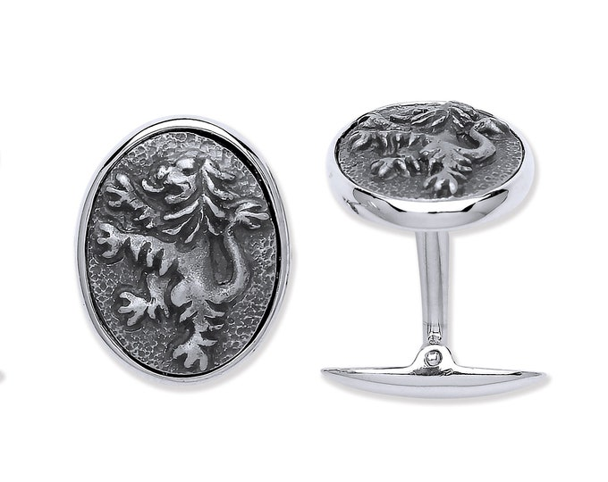 925 Solid Sterling Silver Lion Rampant Design Cufflinks Hallmarked