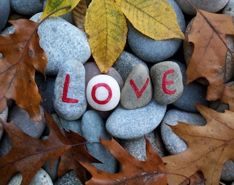 Love Autumn Leaves Rock Greeting Note Card