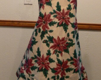 Poinsettia, Christmas Apron , Full Apron, Classy, Dressy, Formal or Casual