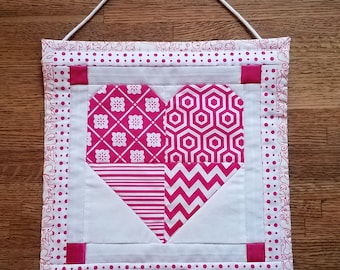 Quilted Heart Wallhanging 12 by 12 inches