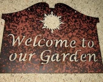 Welcome to Our Garden Sun-metal art, garden art, home decor, sunshine, summer art