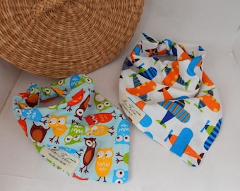 Children bandana, neckerchief, planes and owls printed cotton scarfs for toddlers