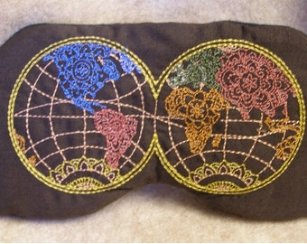 Embroidered Eye Mask, Sleeping, Cute Sleep Mask for Kids or Adults, Sleep Blindfold, Slumber Mask, World Map, Eye Shade, Travel, Handmade