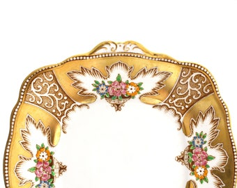 1930s CAKE PLATE, Vintage, English Bone China Cake Plate by Royal Albert, Royalty Pattern, Bold Gold Gilt Design, Replacement China