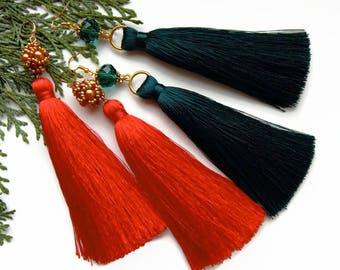 Silk Tassel earrings Extra Long Oscar earrings Beaded tassel earrings Green earrings Red earrings  Statement earrings bohemian earrings