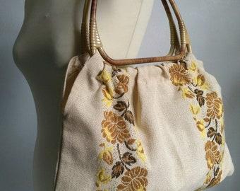 Tapestry handbag, bohemian handbag, beige handbag, chic hippie, 70's bag