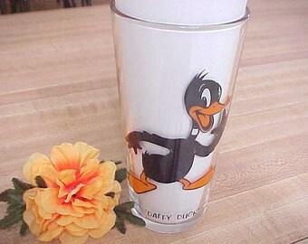 "Vintage Daffy Duck Cartoon Drinking Glass, Pepsi Collector Series, 1973 Warner Bros. Tumbler, 6 1/4"" Brockway Glass with Black Lettering"