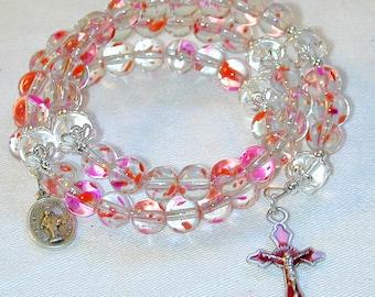 5 Decade Rosary Bracelet Fuschia Splash & Clear Glass Beads OOAK