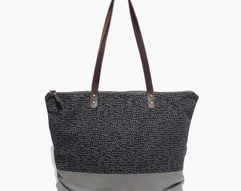 TOTE BAG large, printed. Casual, leather straps & zip - SEURAT