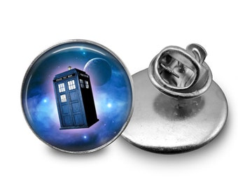 TARDIS in Space Tie Tack or Lapel Pin - Men's - Father's Day