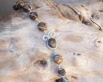Bracelet ethnic, elven, Brown Celtic stainless steel and bronzite (gemstone)