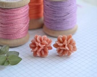 Dark Coral Flower Earrings on Surgical Steel Posts | Dark Coral Stud Earrings | Floral Earrings | Little Wren
