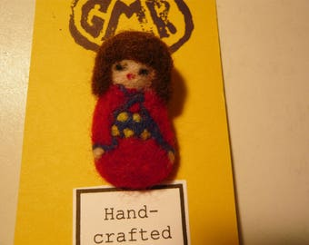 Needle felted Kokeshi Doll Brooch with Red Kimono