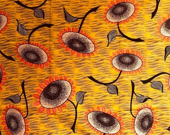 Mustard Yellow Floral Wax Cotton, African Wax Print fabric, Cotton, African Print, fabric, African Ankara, sold by the yard