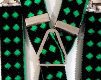 "Checkered Textured Suspenders - 1"""
