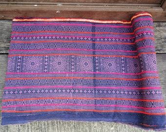 Farbic, indigo batik, thailand, traditional pattern, hmong hill tribe, cotton, bohemian, ethnic, unique, patterned, sewing, gray-purplish