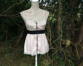 Silky feel zip up camisole vest