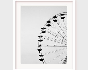 Printable Ferris Wheel Art, Carnival Art, Print, Ferris Wheel Decor, Printable Wall Decor, Black and White, Photography, Carnival Decor