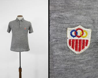 Vintage 60s Polo Shirt Heather Grey T-shirt Olympics Coat of Arms - Size Small