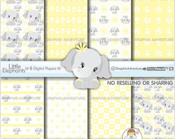 Elephant Digital Paper, Elephant Pattern, Neutral Baby, COMMERCIAL USE, Elephant Texture, Mother's Day Digital Paper, Mothers Day Pattern
