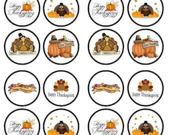 Thanksgiving Edible Wafer Rice Paper Cake Cupcake Toppers x 24 PRECUT