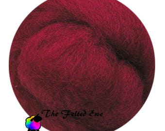 Needle Felting Wool Roving / DR18 Rubies Rare Carded Wool Roving