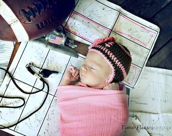 BABY GIRL HATS, Baby Girl Football Crochet Football Baby Hat Knit Football Hat Crochet Flower, Football Gifts, Newborn Football Photography