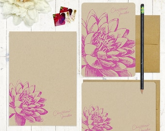 complete personalized stationery set - LOTUS FLOWER BLOOM - personalized kraft stationary - notepad - note cards - floral - botanical