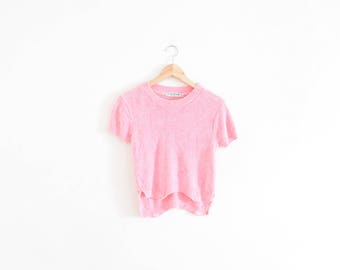 CHENILLE TEE || size womens x small || 90s || t-shirt || knit || pink || minimal || pastel || baby tee || bright || sweater || vintage!